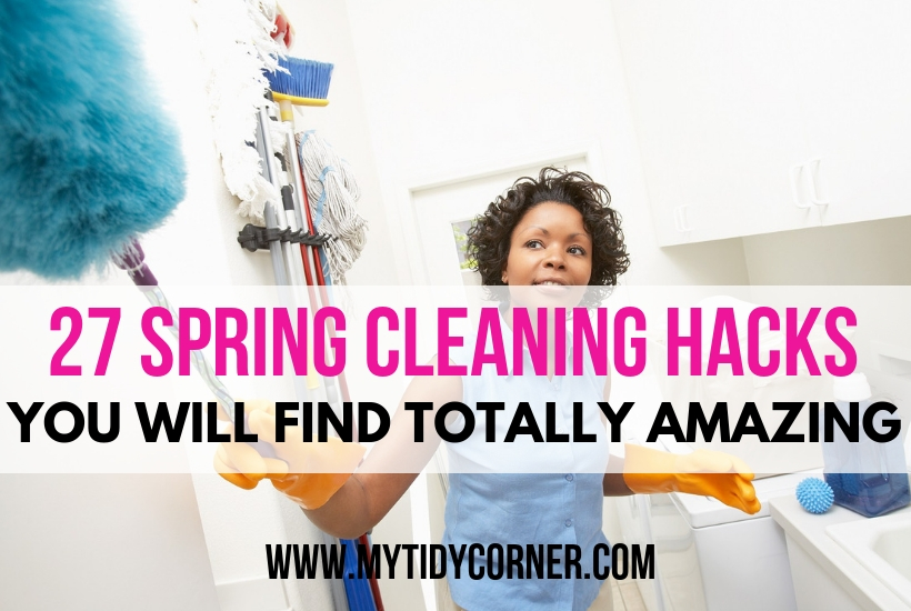 A woman cleaning her home with my spring cleaning tricks