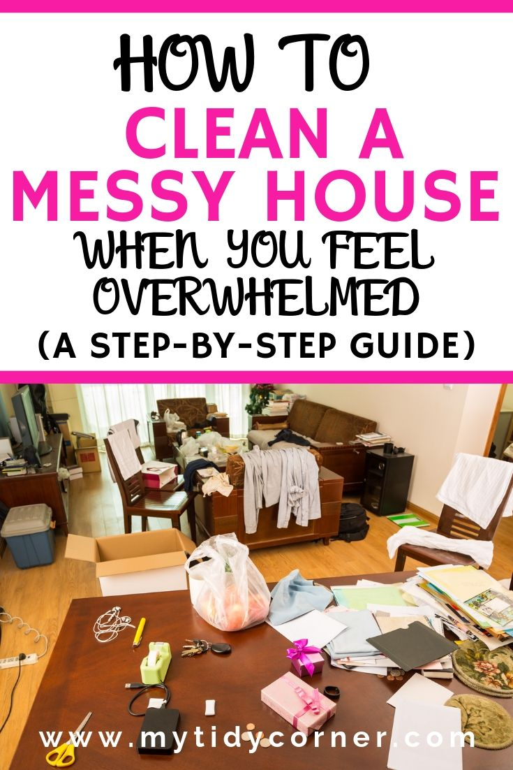 A dirty room with text clean a messy house guide and tips
