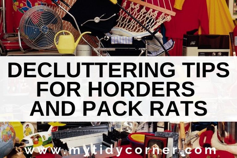 A cluttered home with text decluttering tips for hoarders and pack rats