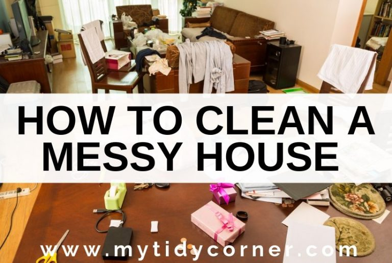 A messy house with text how to clean a messy house