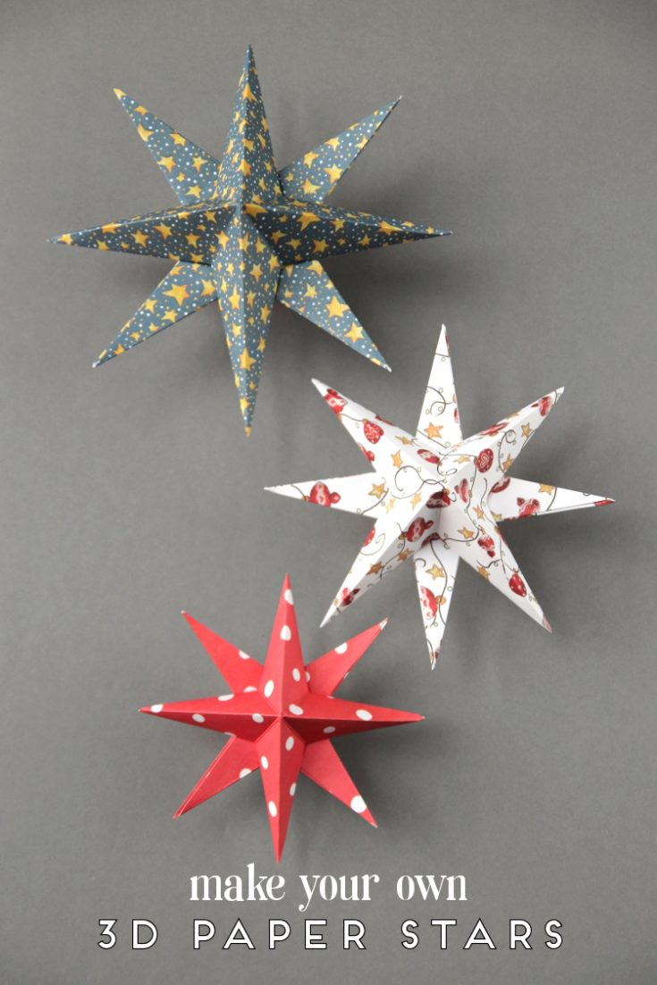 DIY 3D PAPER STAR CHRISTMAS DECORATIONS.
