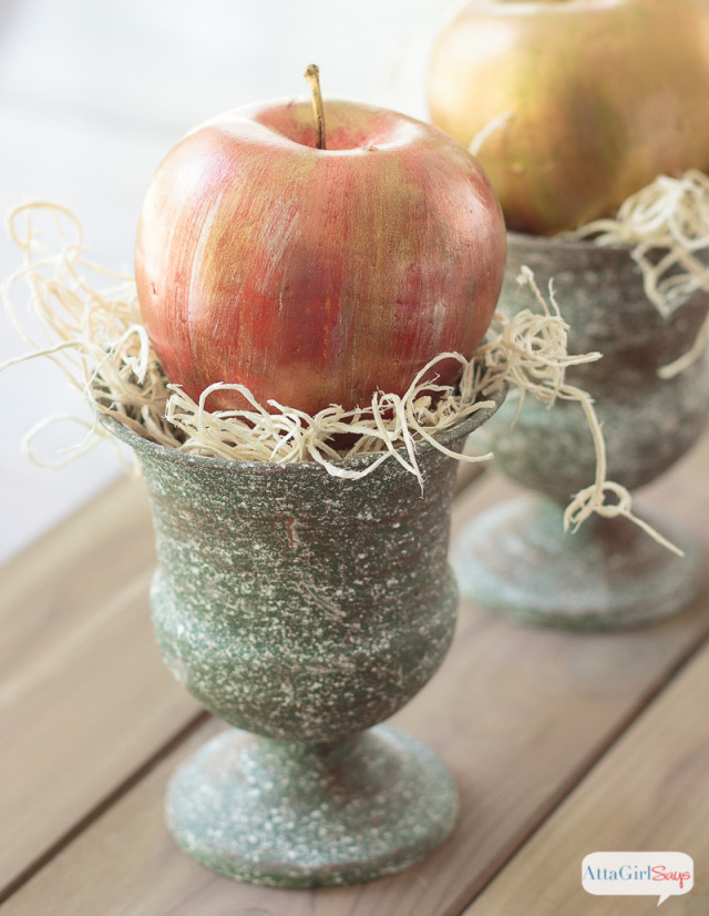 Copper & Gold Metallic Apples for Fall