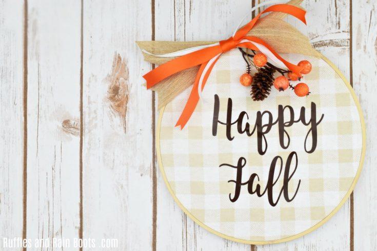Buffalo Check Fall Wreath with a Free SVG File