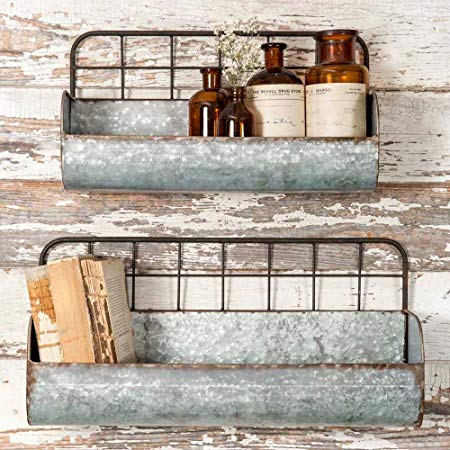 Rustic Decorative Wire Back Wall Shelves