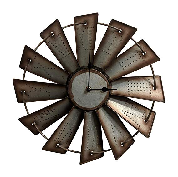 Rustic Farmhouse Metal Windmill Wall Clock