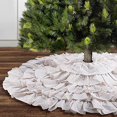 White Ruffle Christmas Tree Skirt