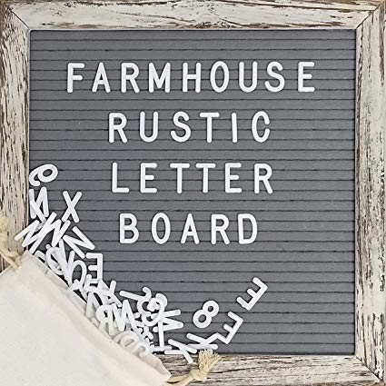 Felt Letter Board with Rustic Wood Frame