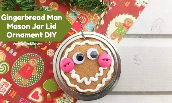 Gingerbread Man Mason Jar Lid Ornament DIY