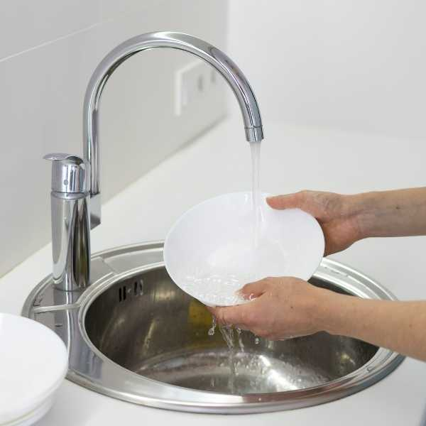 A woman washing plates in a sink
