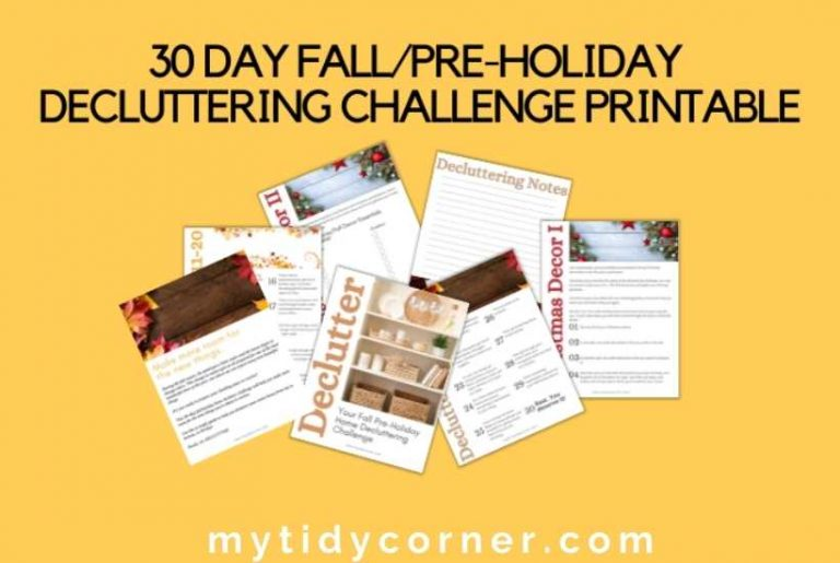 30 day declutter challenge printable fall holiday